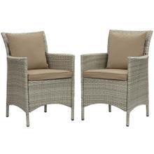 Conduit Outdoor Patio Wicker Rattan Dining Armchair Set of 2 in Light Gray Mocha