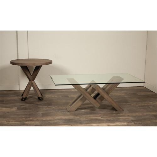 Mirabelle - Glass Top Coffee Table - Ecru Finish