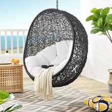 Encase Swing Outdoor Patio Lounge Chair Without Stand in Black White