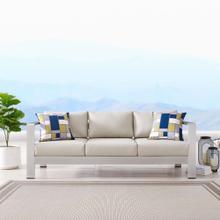 Shore Outdoor Patio Aluminum Sofa in Silver Beige
