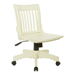 See Details - Deluxe Armless Wood Bankers Chair With Wood Seat (antique White Finish)