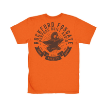Orange T-Shirt with Brown Anvil and Subwoofer Design (L)