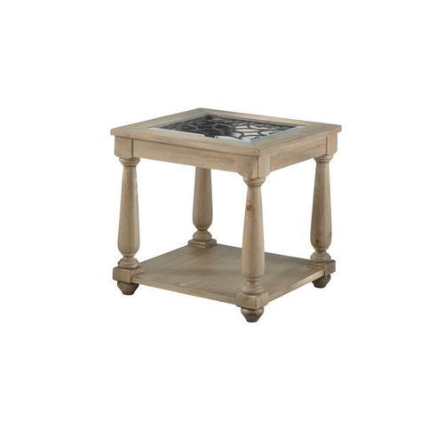 Savannah Distressed Glass End Table, Brown