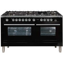 See Details - Professional Plus 60 Inch Dual Fuel Natural Gas Freestanding Range in Glossy Black with Chrome Trim