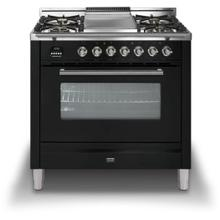 """36"""" Professional Plus Series Freestanding Single Oven Gas Range with 5 Sealed Burners in Glossy Black"""