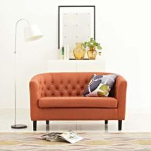 Prospect Upholstered Fabric Loveseat in Orange