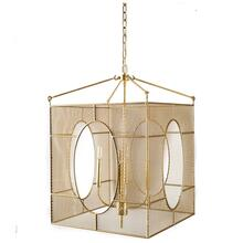 "Garfield (22""x30.5"") Gold Mesh Metal Cage Four Bulb Chandelier"