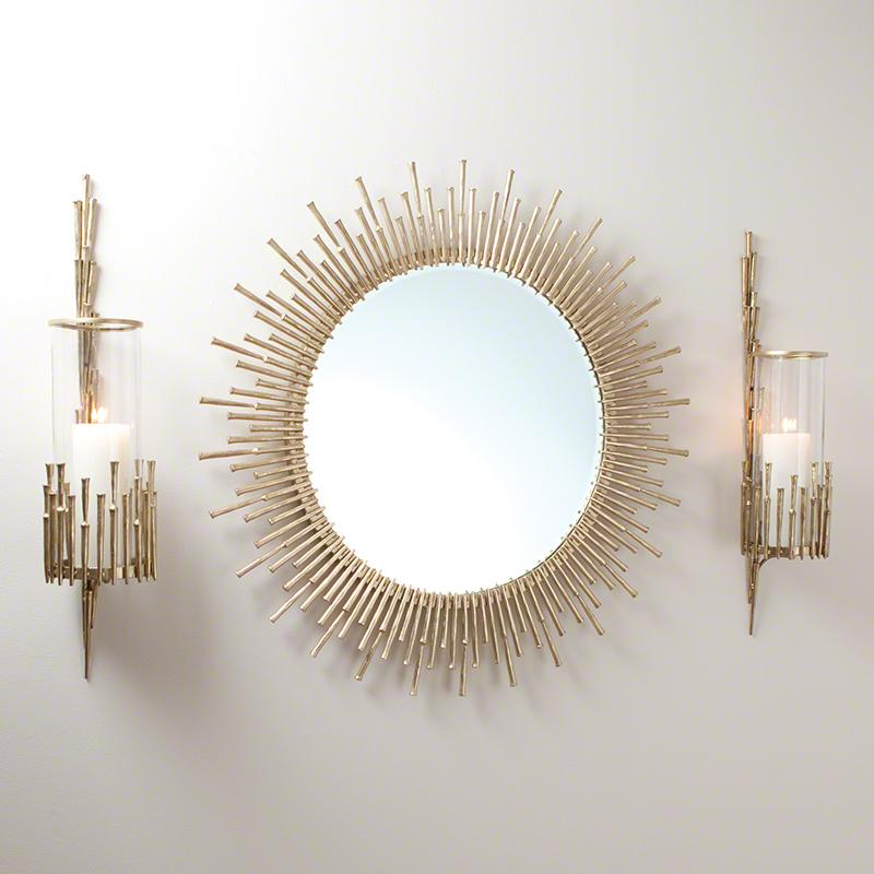 Spike Mirror-Antique Brass