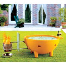 FireHotTub Round Fire Burning Portable Outdoor Light Blue Fiberglass Soaking Hot Tub
