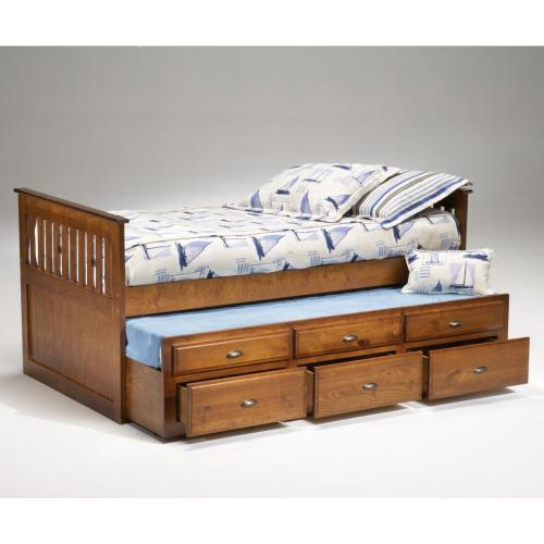 Cherry Captains Bed with Trundle and Storage / Antique Brass Hardware