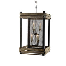 6-Light Farmhouse Cage Lantern in Rustic Finish