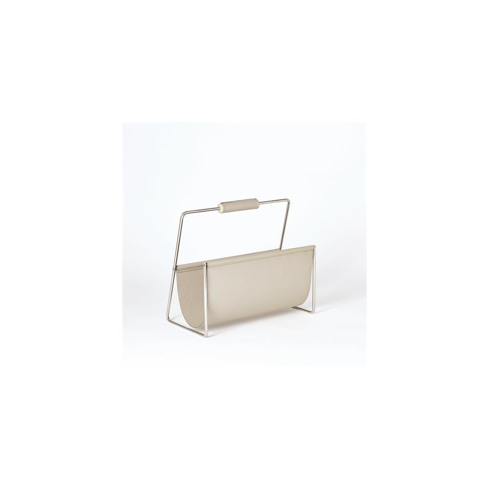 Vivien Literature Holder-Nickel w/Grey Leather