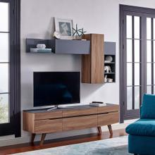 Scope 2 Piece Entertainment Center in Walnut Gray