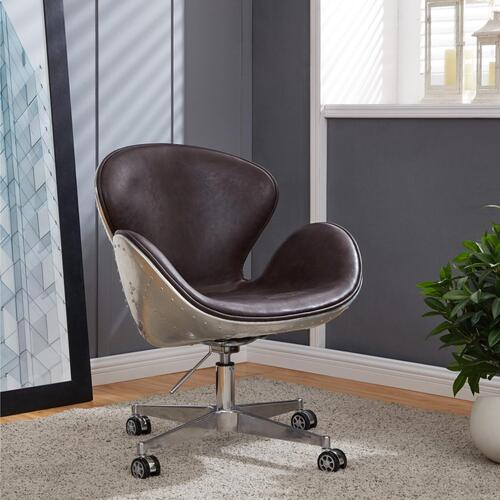 Duval PU Swivel Office Chair Aluminum Frame, Distressed Java