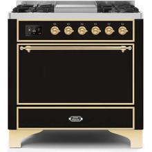 View Product - Majestic II 36 Inch Dual Fuel Liquid Propane Freestanding Range in Glossy Black with Brass Trim
