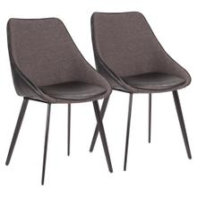 Marche Two-tone Chair - Set Of 2 - Black Metal, Black Pu, Grey Fabric