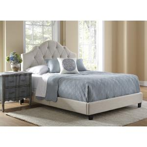 Scalloped Tufted King Upholstered Bed in Soft Beige