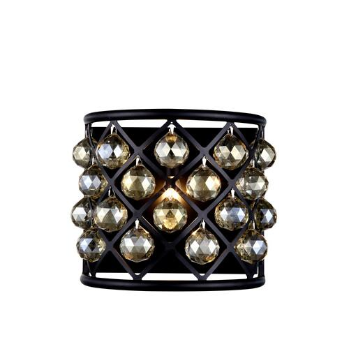 Madison 1 light Matte Black Wall Sconce Golden Teak (Smoky) Royal Cut Crystal