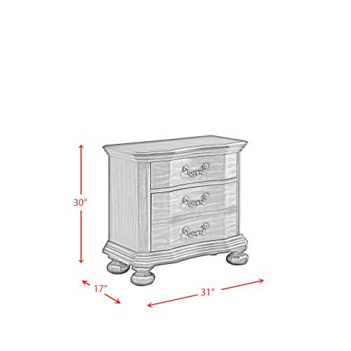 Avery 3-Drawer Nightstand with USB Ports