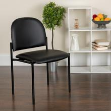 View Product - Comfort Black Vinyl Stackable Steel Side Reception Chair