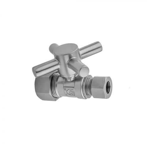"""Polished Nickel - Quarter Turn Straight Pattern 5/8"""" O.D. Compression (Fits 1/2"""" Copper) x 1/2"""" O.D. Supply Valve with Contempo Cross Handle"""