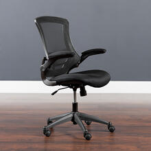See Details - Mid-Back Black Mesh Swivel Ergonomic Task Office Chair with Flip-Up Arms, BIFMA Certified