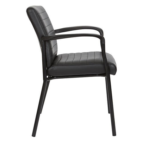 Guest Chair In Black Faux Leather With Black Frame