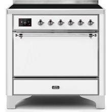 Majestic II 36 Inch Electric Freestanding Range in White with Chrome Trim