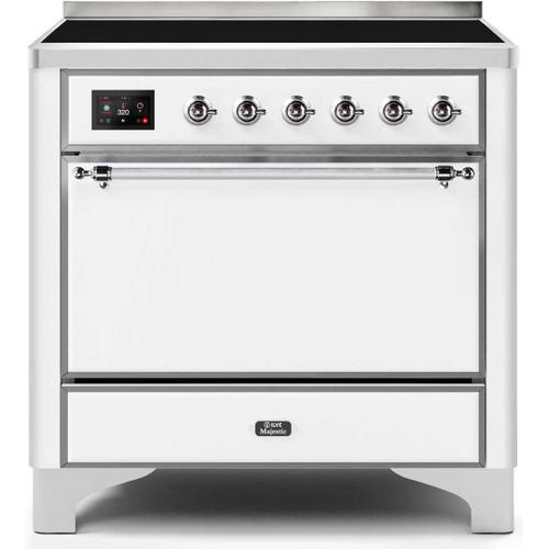 Ilve - Majestic II 36 Inch Electric Freestanding Range in White with Chrome Trim