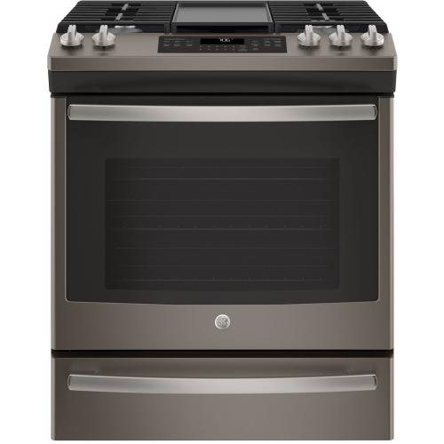 "GE 30"" Gas Slide-In Front Control Convection Range with Storage Drawer Slate JCGS760EELES"