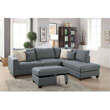 Navin 3pc Sectional Sofa Set, Steel-dorris-fabric