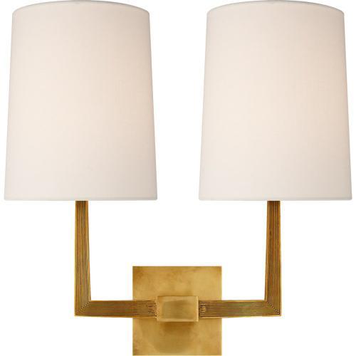 Visual Comfort BBL2084SB-L Barbara Barry Ojai 2 Light 17 inch Soft Brass Double Arm Sconce Wall Light, Large