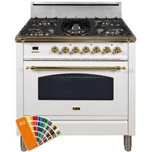 Nostalgie 36 Inch Gas Natural Gas Freestanding Range in Custom RAL Color with Brass Trim