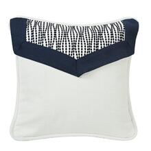 Kavali White Linen Envelope Pillow W/ Navy Blue