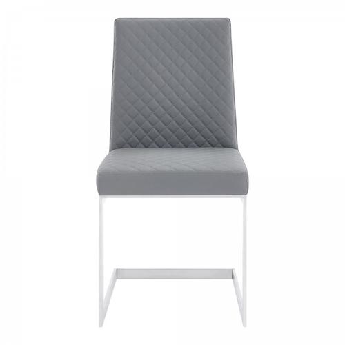 Armen Living - Copen Contemporary Dining Chair in Brushed Stainless Steel and Grey Faux Leather - Set of 2