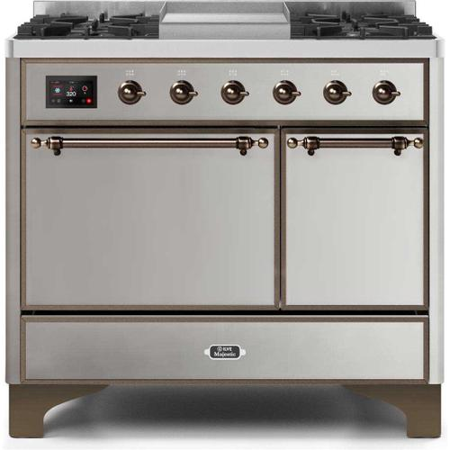 Ilve - Majestic II 40 Inch Dual Fuel Natural Gas Freestanding Range in Stainless Steel with Bronze Trim