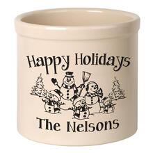 Personalized Snowman Family Three Child 2 Gallon Stoneware Crock - Black Engraving / Bristol Crock