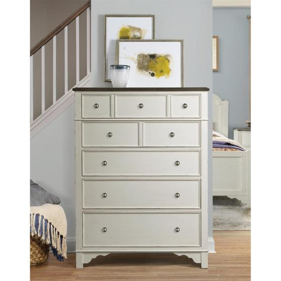 Riverside - Grand Haven - Five Drawer Chest - Feathered White/rich Charcoal Finish