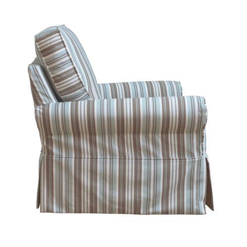 Horizon Slipcovered Box Cushion Swivel Rocking Chair - Blue Striped - 395225