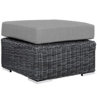 Summon Outdoor Patio Sunbrella® Ottoman in Canvas Gray