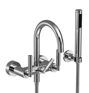Tub mixer for wall-mounted installation with hand shower set - matt platinum Product Image