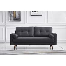 See Details - 8131 DARK GRAY Linen Stationary Tufted Sofa