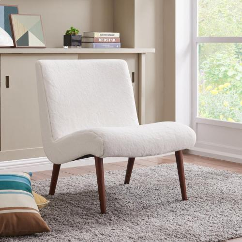 Product Image - Alexis Faux Fur Fabric Accent Chair, Fleece White