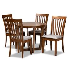 See Details - Baxton Studio Andi Modern and Contemporary Grey Fabric Upholstered and Walnut Brown Finished Wood 5-Piece Dining Set