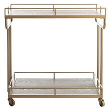 Dawson 2 Tier Rectangle Bar Cart - Rustic Oak / Gold