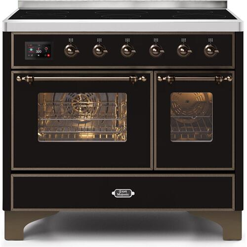 Ilve - Majestic II 40 Inch Electric Freestanding Range in Glossy Black with Bronze Trim