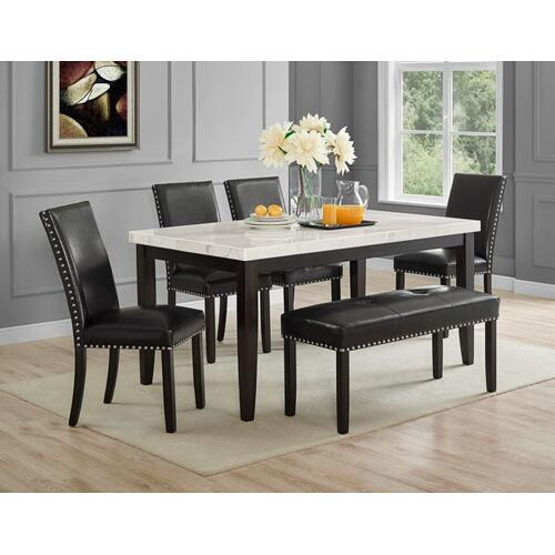 Westby Black PU Dining Bench w/Nailhead