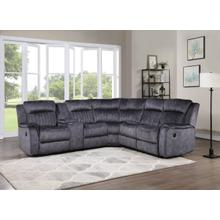 See Details - 8173 BLUE GRAY Fabric Reversible Sectional Sofa Power Recliners