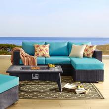 Convene 3 Piece Set Outdoor Patio with Fire Pit in Espresso Turquoise