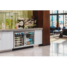 24 Inch Overlay Glass Door Left Hinge ADA Height Undercounter Refrigerator